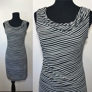 LOFT Asymmetrical Dress Drawn Stripes Gathered PM